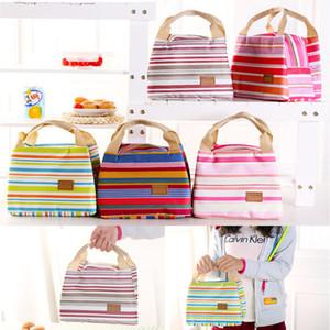 Aislados térmicos portátiles Cool Canvas Stripe Lunch Totes Bag Carry Case Picnic para mujeres usan 010232