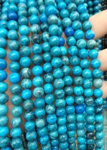 Hebra completa de 16 pulgadas --6 \ 8 \ 10mm Cuentas redondas de jaspe azul - Piedras preciosas naturales semipreciosas de color marrón