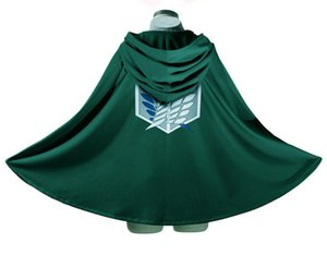 10 pcs Wholesale Cheap Green Black Halloween Attack on Titan Customes Shingeki no Kyojin Cloak Cape clothes Japanese Anime cosplay 3 Size