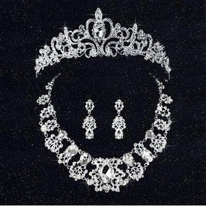 Coroa De Noiva de luxo Barato, mas de Alta Qualidade Cristais Frisado Faiança Roayal Casamento Coroas Véu De Cristal Headband Acessórios Para o Cabelo Partido Tiaras