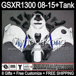 8gifts Pour SUZUKI Hayabusa GSXR1300 08 15 GSXR-1300 blanc brillant 14MY98 GSXR 1300 GSX R1300 08 09 10 11 12 13 14 15 Carénage blanc noir Kit