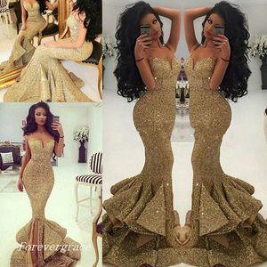 Mode Femmes Luxueux Or Robe De Bal Sexy Sirène Longue Spaghettis Bretelles Formelle Robe De Fête Sur Mesure Plus Taille