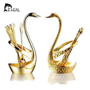 Yaratıcı Lüks Sofra Kuğu Meyve Tatlı Forks Set Takım Elbise Altın Gümüş Meyve Tatlı Aracı Yemek Setleri