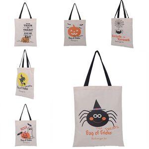 Halloween Tote Bags Handle Pumpkin Shopping Bags Festival Gifts Bag Halloween Canvas Bag 6 Styles IB337