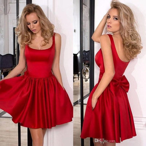 Short Red Satin Cocktail Party Dresses with Pockets 2017 Sexy Square Bow Mini Homecoming Prom Gowns Formal Celebrity Evening Dress BA6929