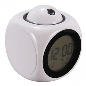 Multifunction Alarm Clock Digital LCD Display Voice Talking LED Projection Temperature Decor