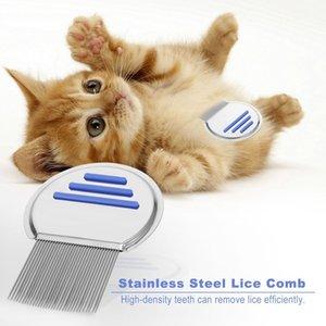 스테인레스 스틸 가짜 빗 무료 터미네이터 애완 동물 개 고양이가 벼룩 제거 라운드 비 슬립 핸들을 제거
