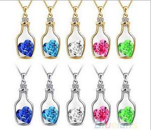 Роскошный ювелирные изделия Серебряный цвет с желанием Бутылочные вкладки влюбленные сердца кристаллы флакон кулон ожерелье для женщин подарок BS68