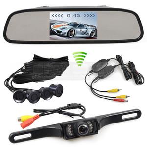 Wireless Video Parking Radar 4 Sensori Monitor per auto da 4,3 pollici Monitor per specchi + Telecamera per auto con vista posteriore IR