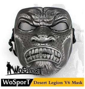 beliebte WoSporT Desert Legion V6 Maske Outdoor CS Spiel Military Training Paintball Schutz Stahlnetz Trainingsmaske, Günstige Camouflage Farbe