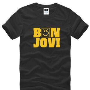 Estate Bon Jovi T-Shirt da uomo in cotone a manica corta Rock Band stampato T-shirt da uomo Moda uomo Rock HipHop Top T-shirt oversize