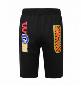 Sportswear dos homens do verão praia calças curtas Jogger provoca solto Crewneck Pássaro OVO Drake preto Hip Hop Homens tubarão impressão boca calças curtas