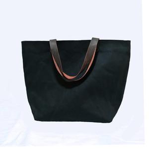16 once di cotone nero tote bag di tela borse vuote spessa e resistente per il sacchetto di tela di stampa personalizzato con manici in vera pelle