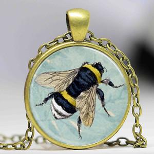 Frete grátis Mel Abelha Colar Bumblebee em Azul Floral Fundo Scrabble Telha Pingente, Scrabble Telhas Para Jóias