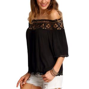 2016 إمرأة أعلى القطع الرقبة الكشكشة تيز جنسي خارج بلايز الكتف عادية سليم الأعلى Blusas الأنثى حمالة ثوب قميص فضفاض W2