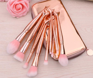 Profesional 10 PCS Mermaid Makeup Brushes Set Foundation Blending Powder Powder Eyeshadow Contour Concealer Blush Cosmetic Makeup Tool