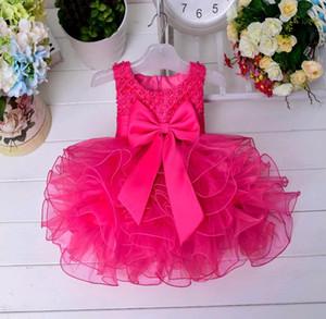 Hochwertige Kinder Hochzeit Kleid Neugeborenes Baby Prinzessin Tutu Sleeveless Perlen Perlen Garn Kleid für Babys Mädchen erste Geburtstagsfeier