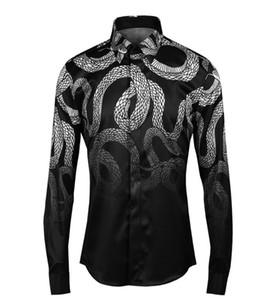 Toptan-Men Gömlek Chemise Homme Benzersiz güçlü yılan Erkek İnce Uzun Kollu Pamuk Elbise Gömlek CAMISAS Hombre