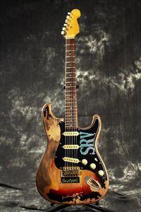 La tienda de encargo 10S edición limitada Stevie Ray Vaughan Número Uno tributo SRV # 1 Pesada Relic guitarra eléctrica Cuerpo de aliso cuello amarillo de la vendimia