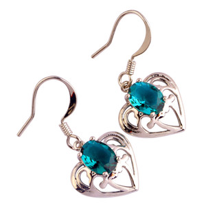 Lab green Created Zircon Dangle Hook Silver Plated Earrings Fashion Jewelry Eardrop Women Wholesale Free Shipping