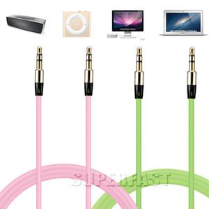 1 м / 3 фута аудио кабель расширенный 3.5 мм Aux кабель конфеты красочные кабель для MP3 ноутбук динамик с OPP пакет