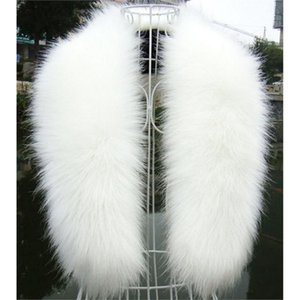 Wholesale- NEW Winter Fashion Luxury Artificial  Fur Collar Scarf Warm Warmer Shawl Stole White