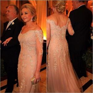 Sirène mère de la mariée robes de mariée 2019 hors épaule illusion manches longues en dentelle appliques perles robes de mariée formelles