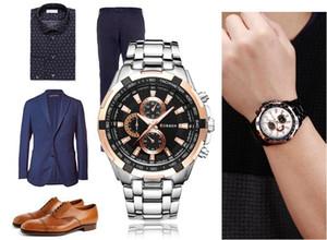 Новый CURREN моды мужские часы Регулируемая Fulll нержавеющая сталь ремешок для часов Часы Мужские Спортивные кварцевые наручные 8023 Free DHL