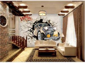 인기있는 자동차 깨진 벽 3D 맞춤형 벽지 벽지 배경 벽지 벽 3 d 거실