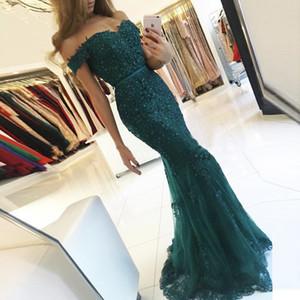 NOUVEAU GREEN PROM Robes 2019 sur l'épaule Modest Robe de Soirée Serre Sirène Style Perles Dentelle Formel Robe de soirée