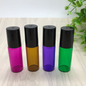 Misture 4 cores 5ml vermelho / roxo / verde / âmbar vazio rolo Frasco de vidro para perfume Óleo Essencial 5 garrafas de rolo ml de aço inoxidável Colorido
