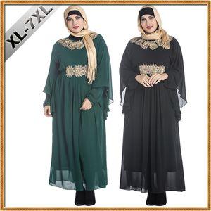 Tamanho grande Mulheres Gordas Roupas Decalques Muçulmanos Malásia Árabe Vestes Oriente Médio Feminino Morcegos Manga Longa Plus Size Vestido Maxi Bordado Chiffon