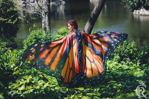 Kadınlar için yaratıcı Kelebek Şal Yaz plaj sarongs Cosplay Sahne Şifon kelebek şal Kadınlar Yüzme Güneşlenme