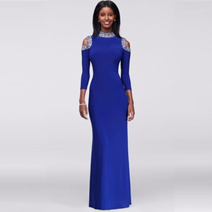 Crystal-Beaded Cold Shoulder Beaded with Bold Crystals Jersey Evening Gown 262624I High Neckline Royal Blue Long Sleeves Prom Dresses