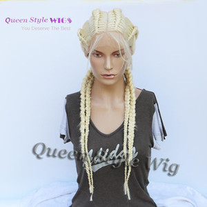 Высокое качество полный ручной связали полный парик шнурка синтетический светлый цвет четыре косы полный парики шнурка с волосами младенца для черный/ белый женщины
