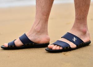 Al por mayor-Nuevo 2017 hombres sandalias de moda casual suave verano Flops PU masaje zapatillas zapatos para hombres Zapatos 39-44