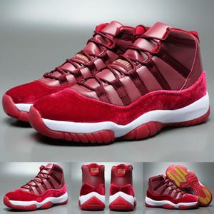 Nuovo 11 Velvet Heiress Notte Maroon uomini le donne retrò scarpe da basket del vino rosso 11s Velvet Heiress Sport Sneakers di alta qualità con i pattini di sicurezza