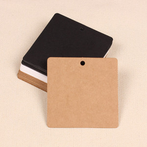 Wholesale- 100 X carta quadrata Mark Kraft Tag di carta Hang prezzi Etichetta Party Bomboniere regalo Candy Boxes Tag Card, marrone nero bianco