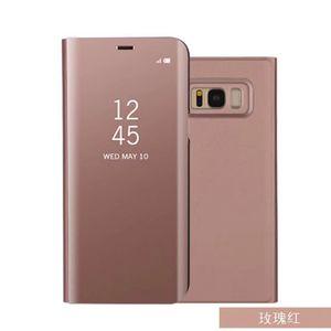 50Pcs Smart View Cas de téléphone pour Samsung Galaxy S8 Plus S8 J5 J7 J7 Prime On5 On7 Placage Miroir Flip Couverture Téléphone Cas Avec Kickstand Fonction