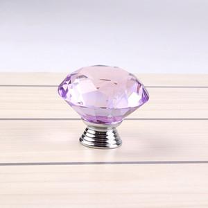 40mm Temizle Mor Kristal Cam Topuzu Parlak Cilalı Krom Marrywindix Çekmece Dolap Ev Mutfak Çekmece 9E Için Kolu Çekin Topuzu