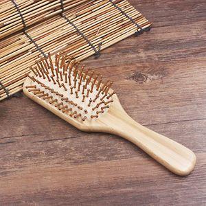 Vente chaude Femmes Tête Ronde En Bambou Cheveux Brosse Anti-statique Peignes En Bois Soins Des Cheveux et Beauté SPA Peigne De Massage