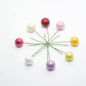 2016 al por mayor 40pcs de la perla de plástico artificial Estambre Bacca de flores para la decoración de la boda DIY de Scrapbooking decorativo de la guirnalda de flores pistilo