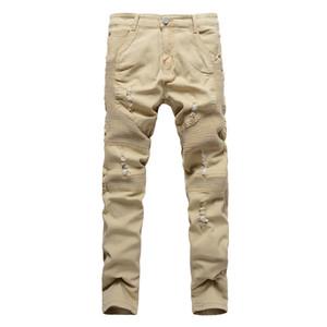 Kaki Biker Jeans plissés Design Le maigre mince pantalon stretch Denim 2016 Nouvelle arrivée Hip-Hop Jeans Rue Ripped