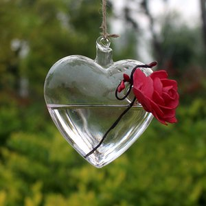 Vetro chiaro cuore appeso vaso bottiglia terrario contenitore pianta vaso fiore fai da te casa matrimonio giardino arredamento