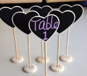 wholesale Mini Wooden Blackbord aon stick Stand Table Numbers Wedding Candy Signs Birthday party