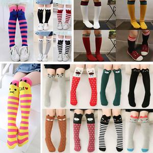 24 Design Baby Mädchen Knie Mittel Hoch Socken Gestreifte Dot Katze Baumwolle Lange Socken-Frühlings-Herbst-Kind-Kind-Kleid-Socken Strümpfe HH7-43