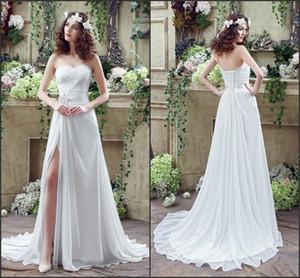 Cuadros reales 2017 Sexy Beach Cheap Wedding Dresses Plisados Sweetheart Lace Up Back Side Split Vestidos de novia Vestidos de novia por encargo