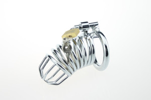 New Stainless Steel Male Chastity device Adult Cock Cage With Curve Cock Ring Sex Toys Bondage Chastity belt