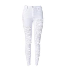 الجملة-الأزياء الأبيض هول جينز المرأة سروال رصاص نحيل انفجرت الجينز للنساء vaqueros موهير جان الدينيم السراويل pantalon جان فام