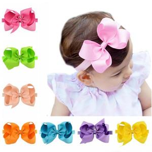 Bebés Meninas Big Bow Headbands 6 fita de gorgorão polegadas Boutique Arcos Flores Headband infantil Criança Elastic Hairbands Acessórios de cabelo